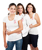 Women wearing the breast cancer awareness ribbon