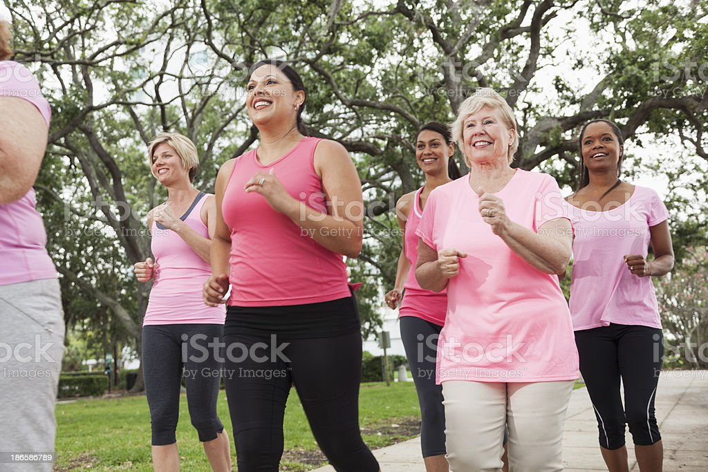 Breast cancer walk stock photo