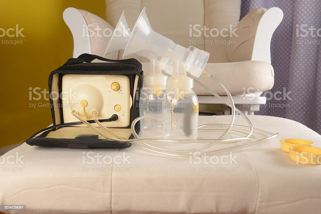breast milk pumping equipments stock photo
