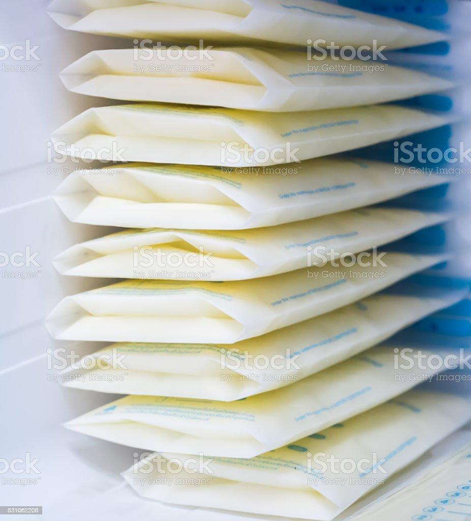 breast milk storage bags stock photo