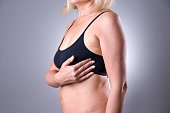 istock Breast test, woman examining her breasts for cancer, heart attack 645442660