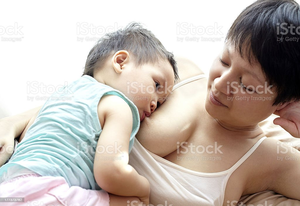 Breastfeeding mother and child royalty-free stock photo