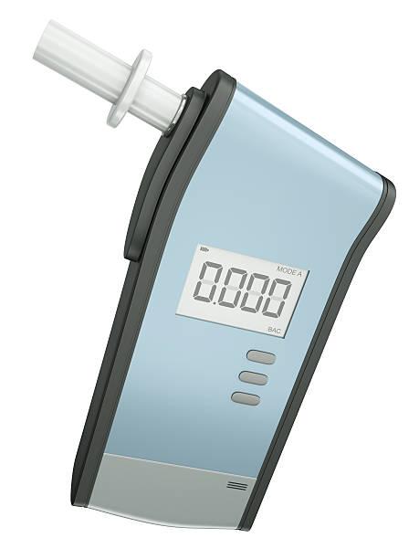 respiração analyzer, alcoholometer em um fundo branco - bafometro - fotografias e filmes do acervo