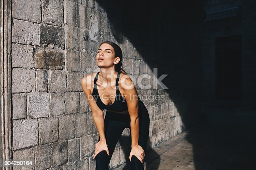 Young girl resting after long run