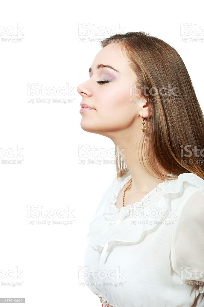 breath woman stock photo