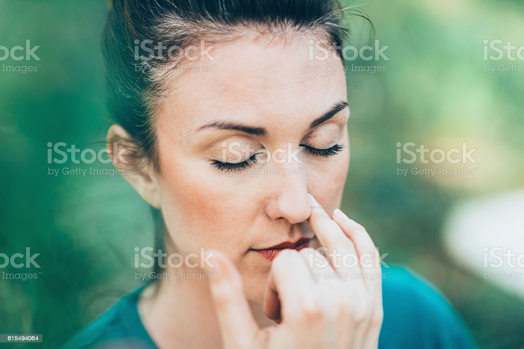 Breathing exercise Pranayama stock photo