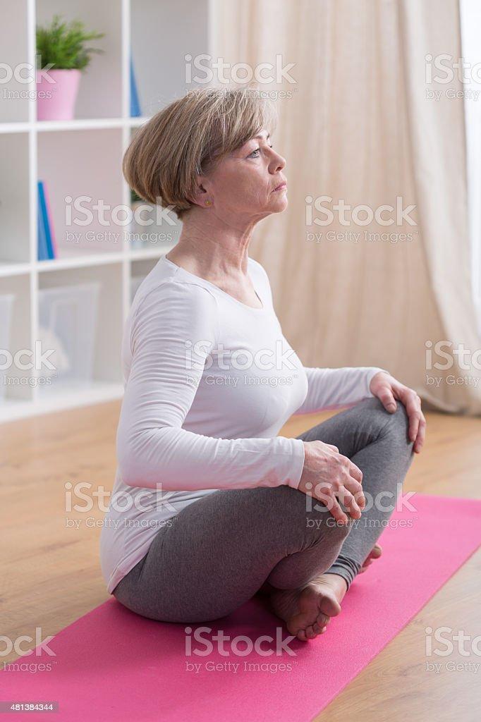 Breathing exercises in yoga stock photo
