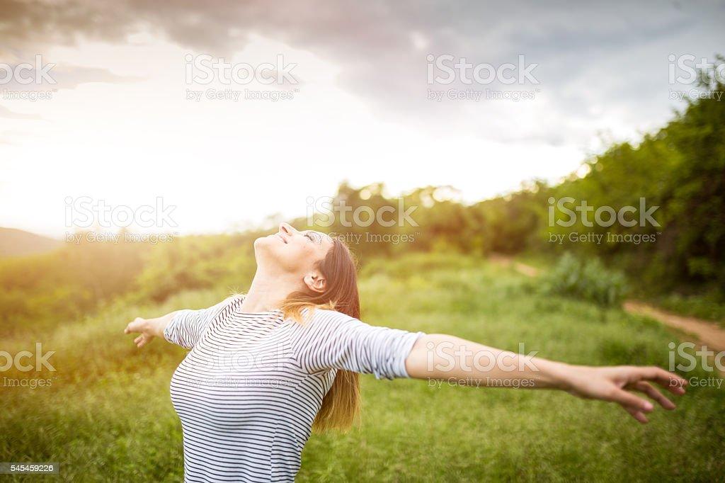 Breathing fresh air stock photo
