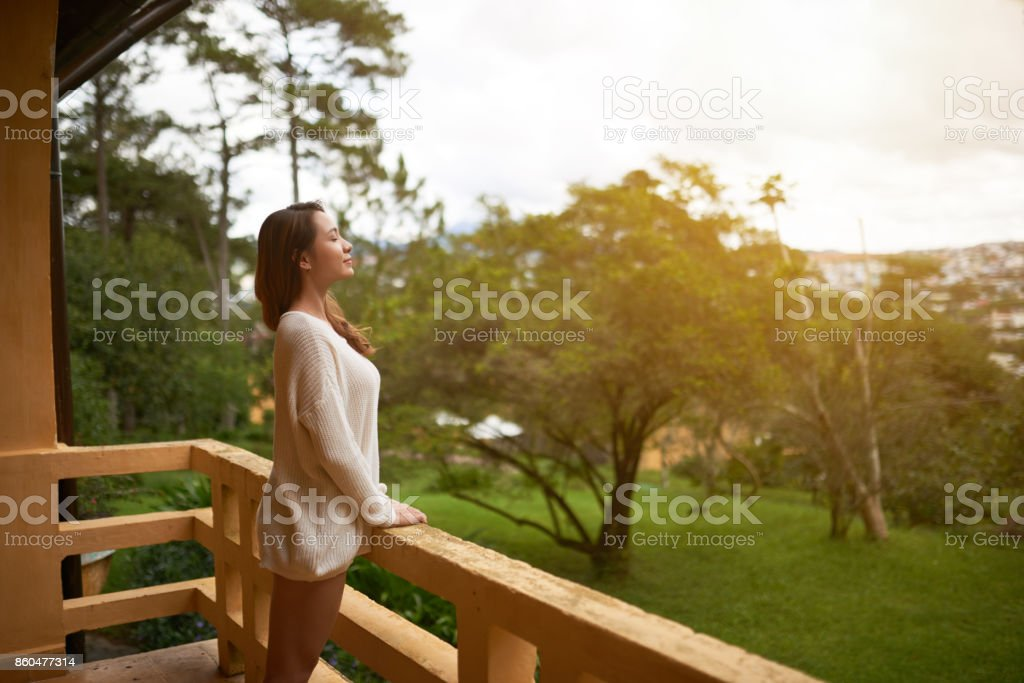 Breathing fresh air stock photo