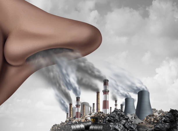 Breathing Toxic Pollution stock photo