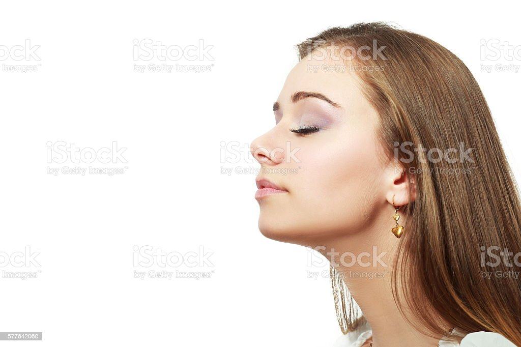 breathing woman close up stock photo