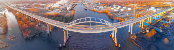 breathtaking aerial panorama, tower drive bridge spanning fox river - green bay wisconsin stock photos and pictures