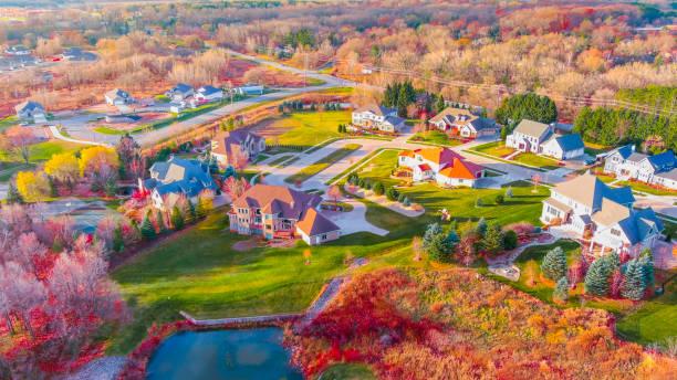 Breathtaking Autumn colors in neighborhood foliage stock photo