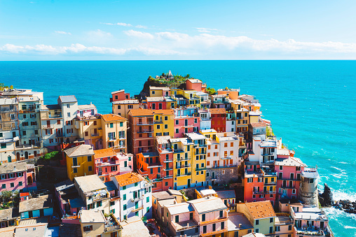 Cinque terre in Italy, road trip, springtime travel destination, tourists having fun, exploring the city, visiting famous places and sightseeing