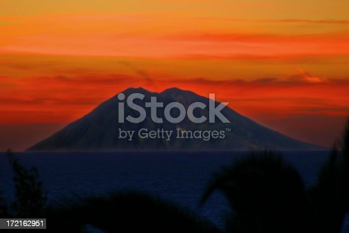 istock Breathtaking colourful view of the Volcano island stromboli at sunset 172162951