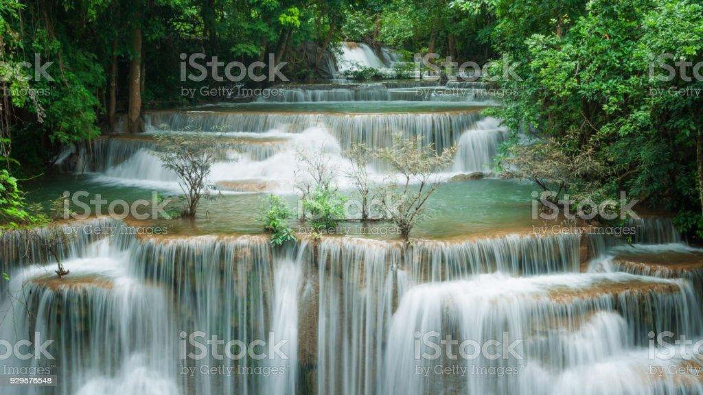 Breathtaking green waterfall, Erawan's waterfall, Located Kanchanaburi Province, Thailand stock photo