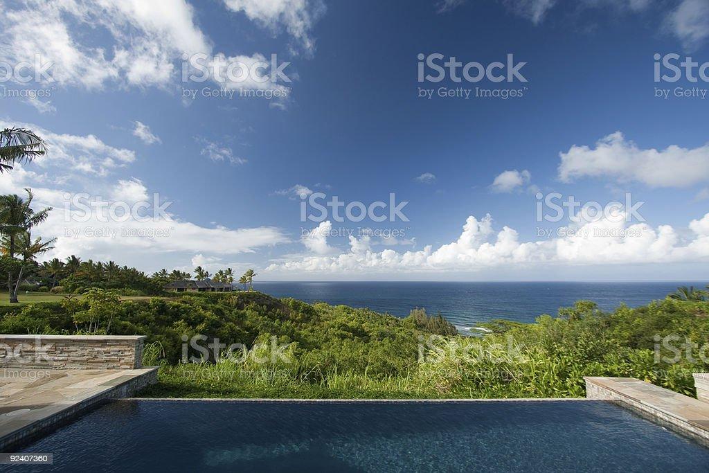 Breathtaking Hawaiian Ocean View Deck and Pool royalty-free stock photo