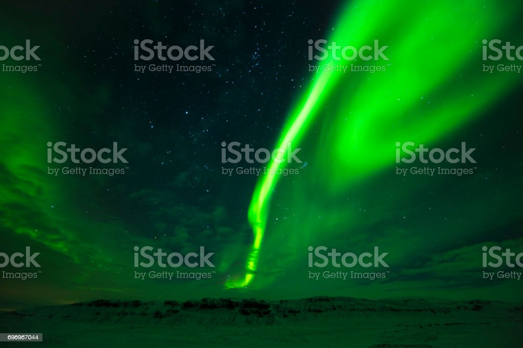 Breathtaking northern lights in the east Iceland stock photo