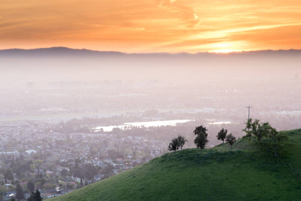Breathtaking Silicon Valley Sunset stock photo