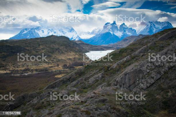 Photo of Breathtaking Storm Rolling over Torres Del Paine Mountain Range and Glacier Grey in Patagonia Chile