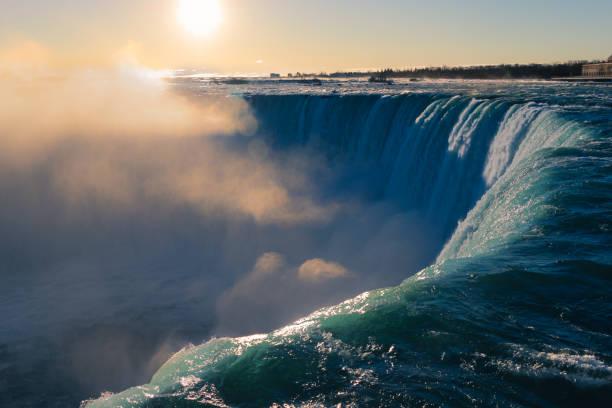 Breathtaking sunrise View at worlds biggest and Beautiful Niagara Falls stock photo