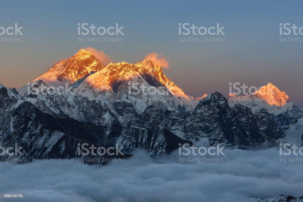 Breathtaking sunset over Everest summit, view from Renjo La pass. stock photo