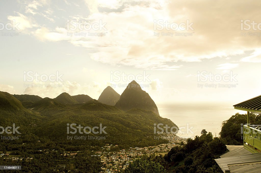 breathtaking tropical landscape at sundown stock photo