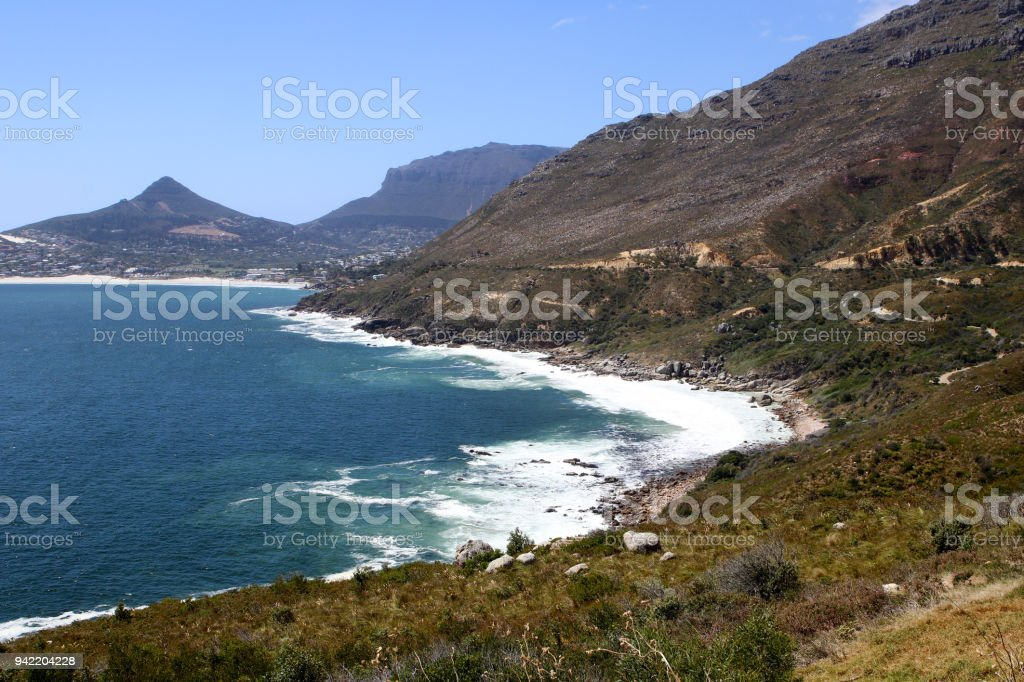 Breathtaking view at Hout Bay and Chapmans Peak drive near Cape Town, South Africa stock photo