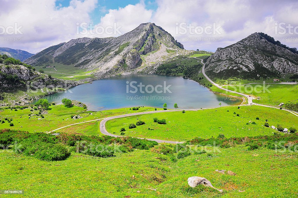 Breathtaking view of Enol lake. stock photo