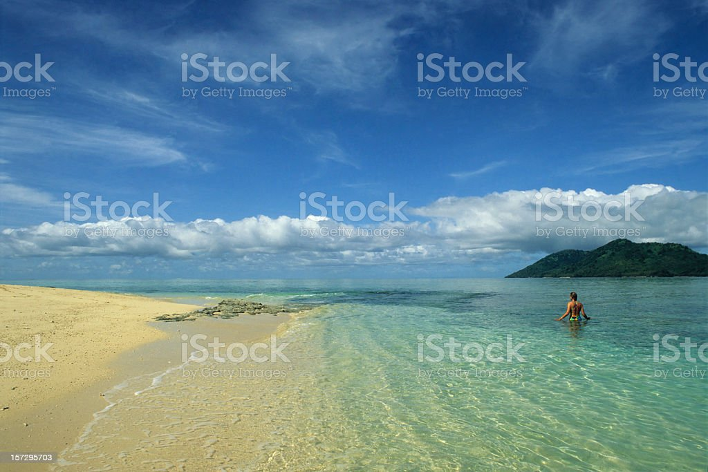 A breath-taking view of Fantasy Island with clear waters stock photo
