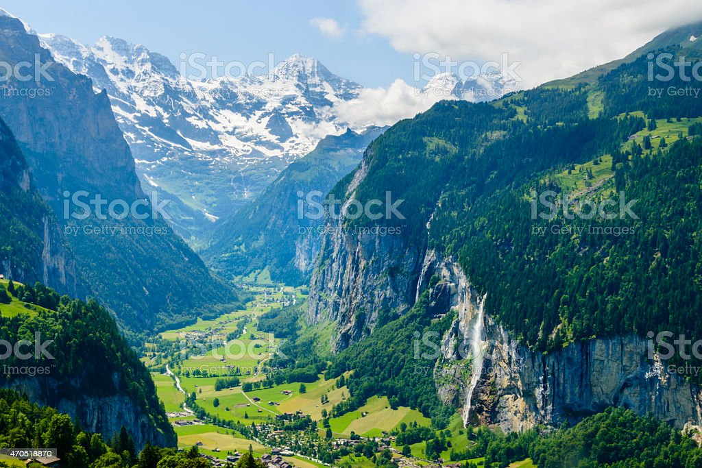 Breathtaking view of Lauterbrunnen Valley, Switzerland stock photo