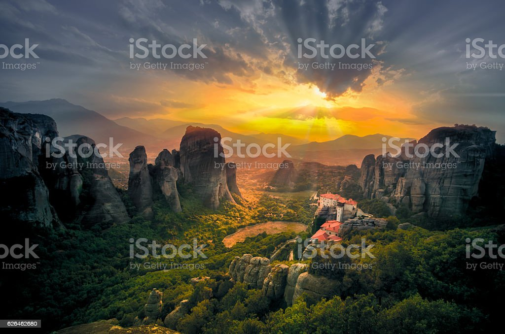 Breathtaking view of Meteora, Greece stock photo
