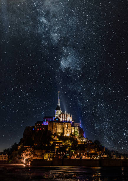Breathtaking View of Mont-Saint-Michel, France, and the Milky Way stock photo