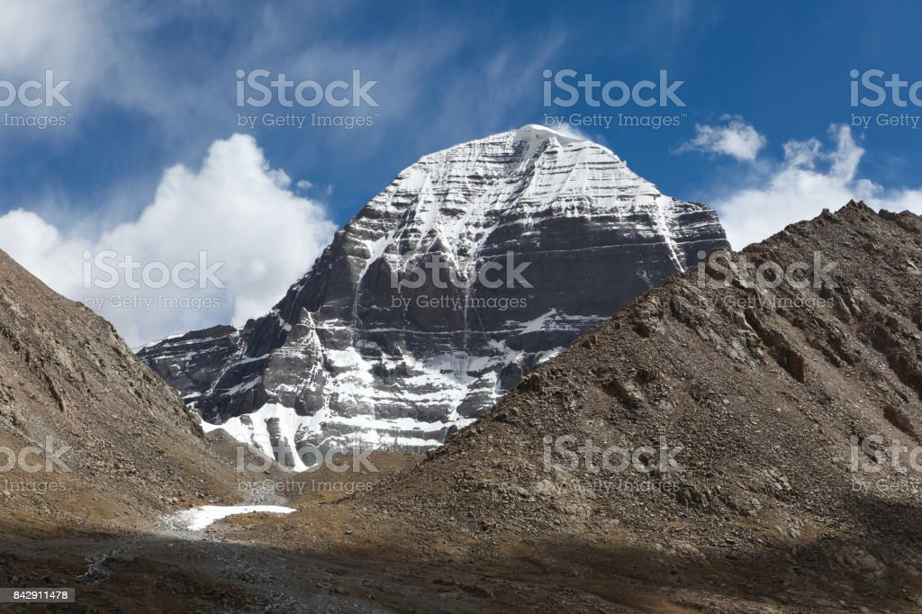 Breathtaking view of North face of the sacred Kailash or Sumeru mountain in summer,Tibet. stock photo