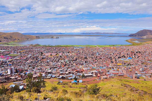 プーノの絶景がチチカカ湖がございます。 - プノ ストックフォトと画像