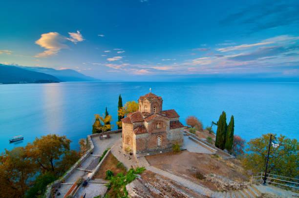 Breathtaking view of Saint John at Kaneo in Macedonia. stock photo