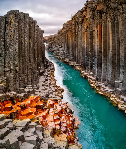 Breathtaking view of Studlagil basalt canyon, Iceland. stock photo