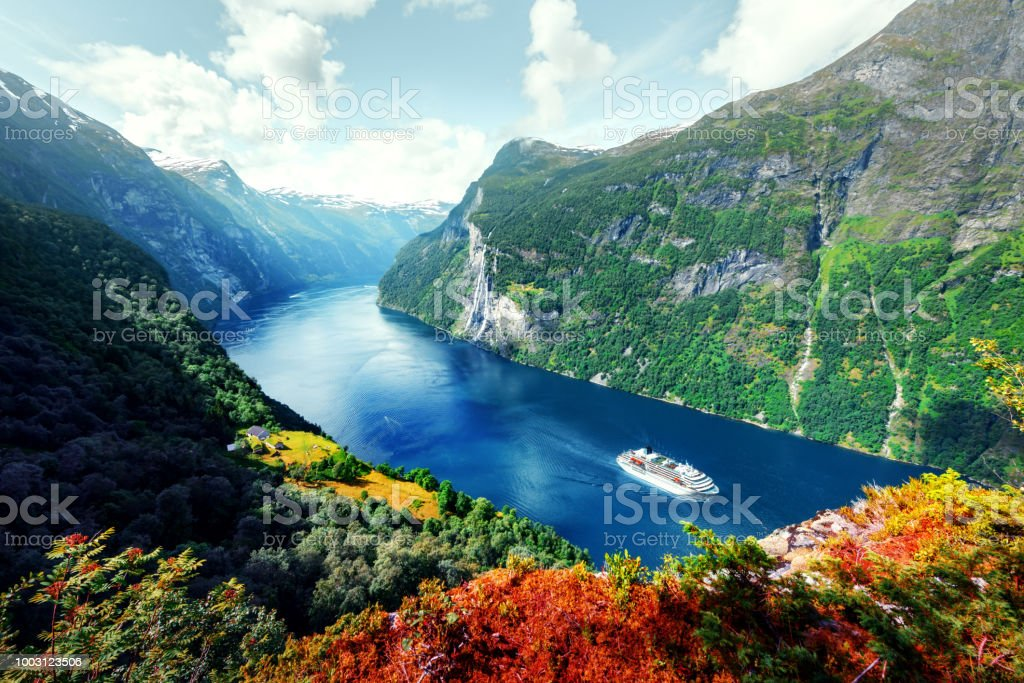 Breathtaking view of Sunnylvsfjorden fjord stock photo