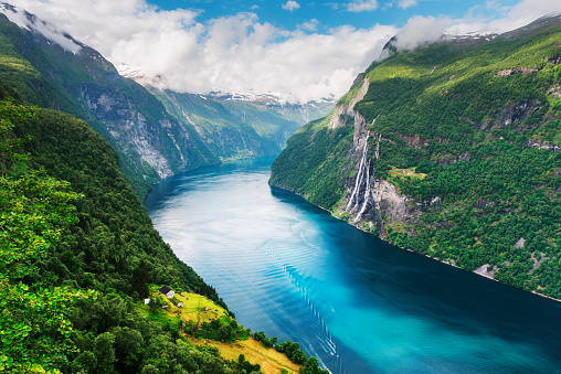Breathtaking view of Sunnylvsfjorden fjord and famous Seven Sisters waterfalls, near Geiranger village in western Norway.