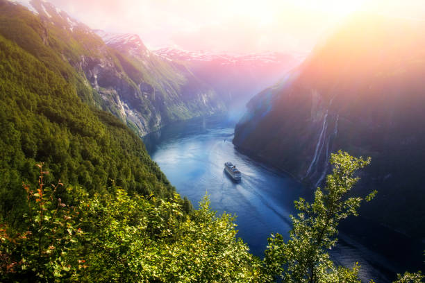 Breathtaking view of Sunnylvsfjorden fjord Breathtaking view of Sunnylvsfjorden fjord and famous Seven Sisters waterfalls, near Geiranger village in western Norway. northern europe stock pictures, royalty-free photos & images