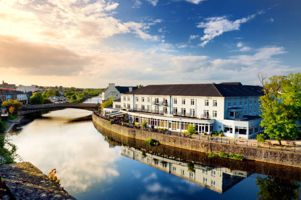 Breathtaking view on a bank of the River Nore in Kilkenny, one of the most beautiful town in Ireland. stock photo