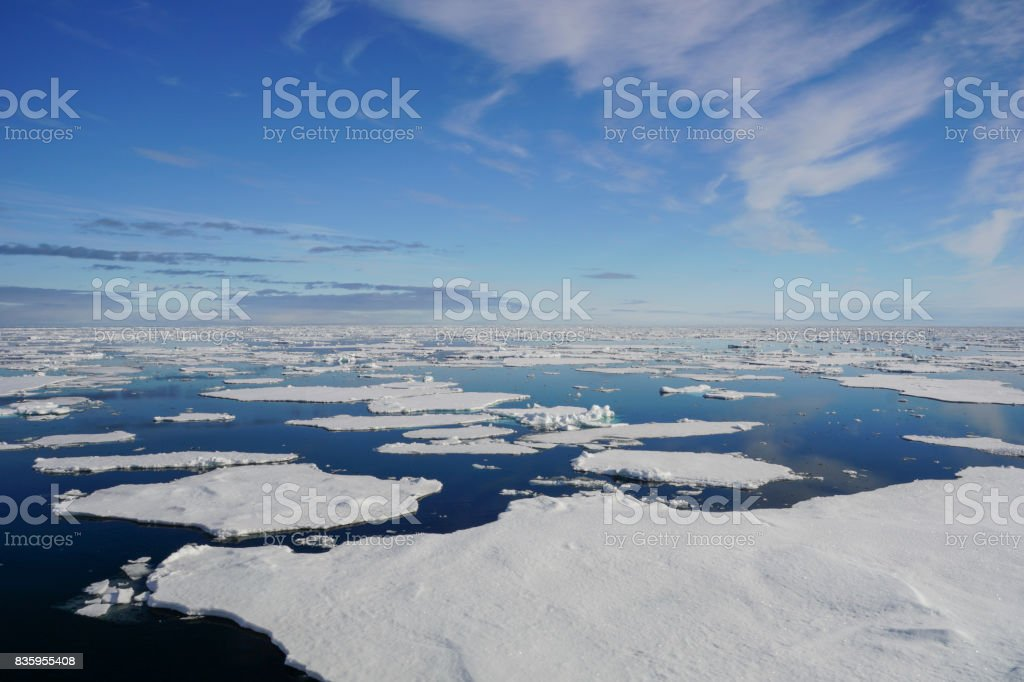 Breathtaking Views of the Arctic Pack Ice near Svalbard stock photo