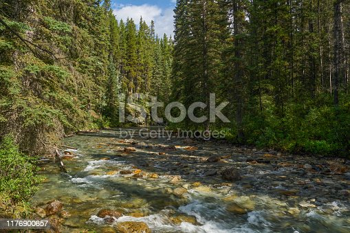 Breathtakingly beautiful scenery of Johnston Canyon in the famous Banff National Park found in Alberta, Canada.