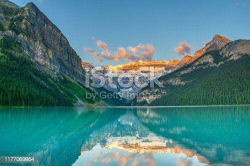 Breathtakingly beautiful scenery of the famous Lake Louis in Banff National Park found in Alberta, Canada.