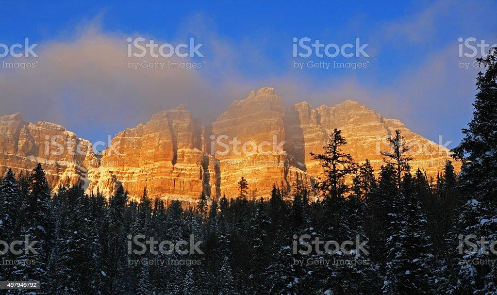 Breccia Cliffs and Peak Near Jackson Wyoming stock photo