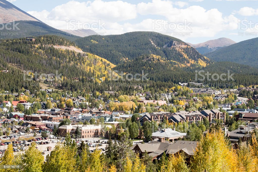Breckenridge, Colorado in the autumn with golden leaves stock photo