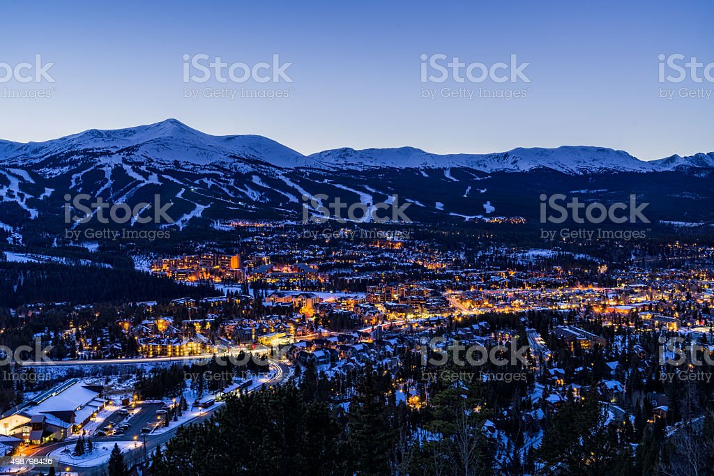Breckenridge Colorado Winter Dusk Ski Runs stock photo