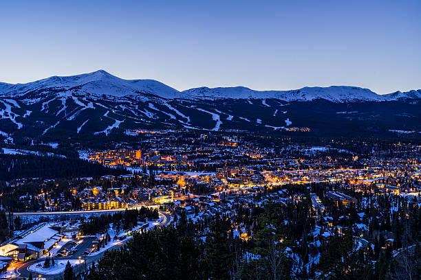 Breckenridge Colorado Winter Dusk Ski Runs stock photo