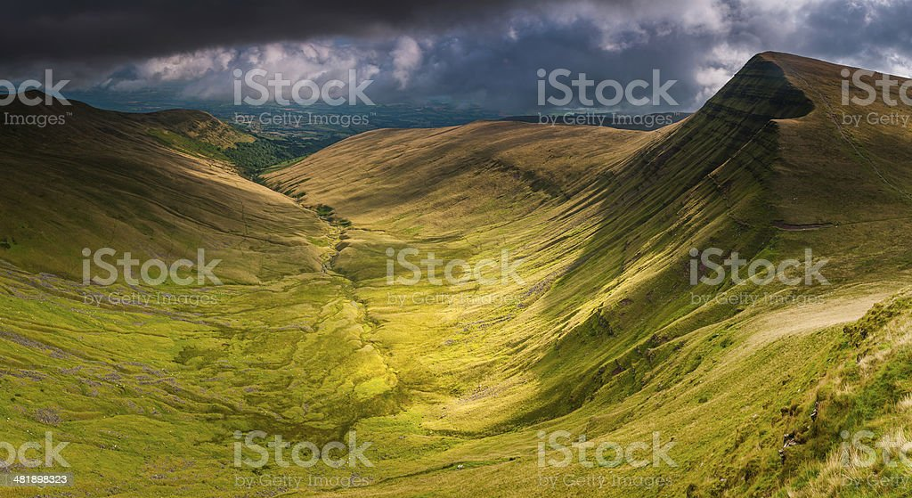 Brecon Beacons National Park dramatic mountain panorama peaks valleys Wales stock photo