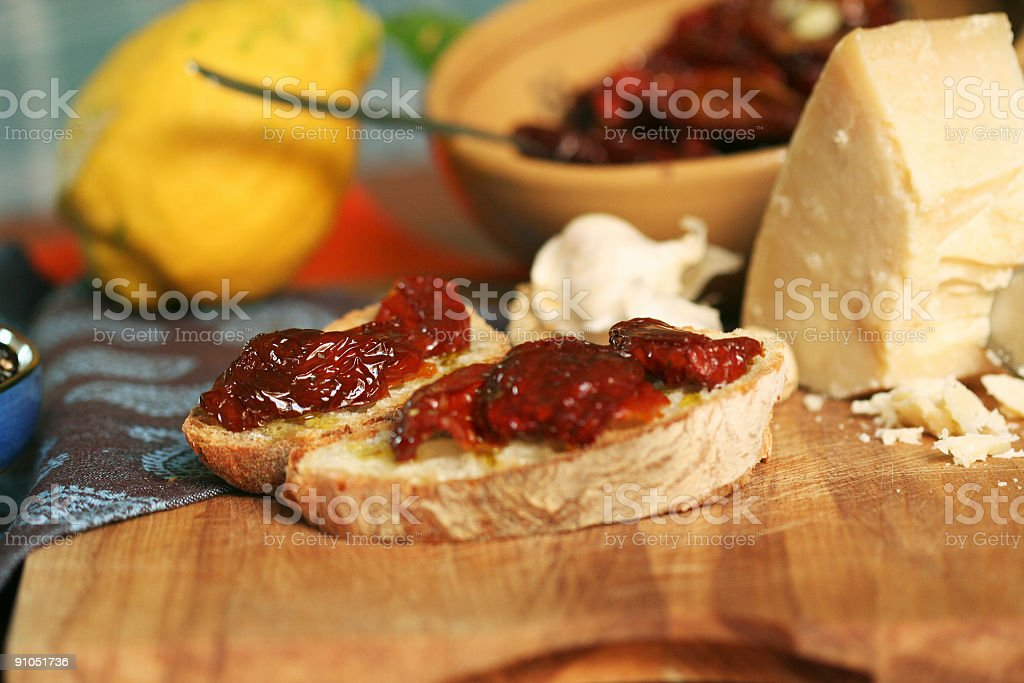 Bred with dried tomato royalty-free stock photo